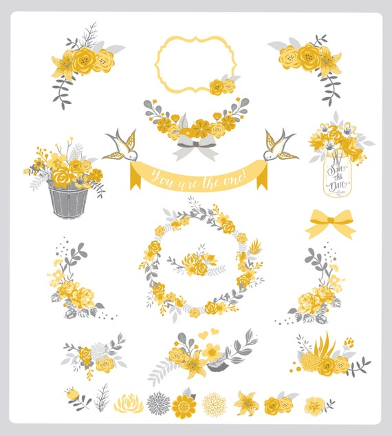 Flower frames and birds Digital Clipart Ribbons and Frames for | Etsy