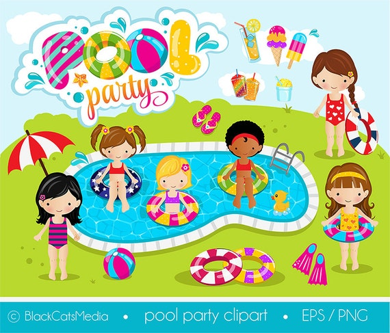 girls pool party clipart pool clipart pool party digital etsy rh etsy com pool party clipart black and white pool party clip art borders