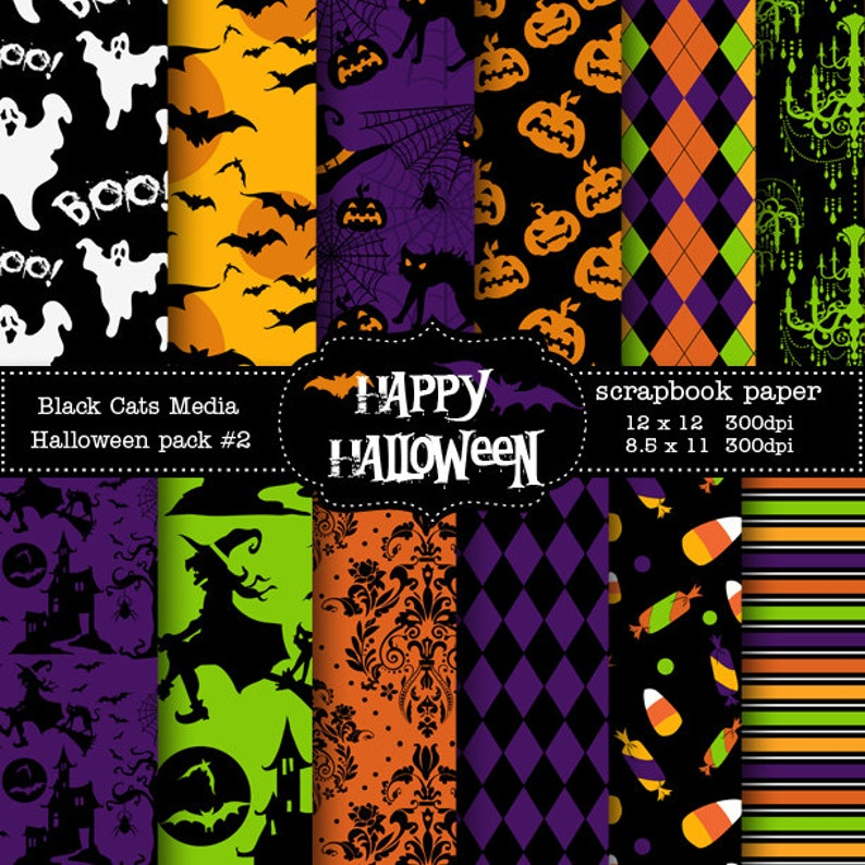 image regarding Printable Halloween Paper called Halloween Paper Printable Halloween Electronic Paper - Halloween Bash - Prompt Obtain 12 x 12 inside AND 8.5x11 in just -