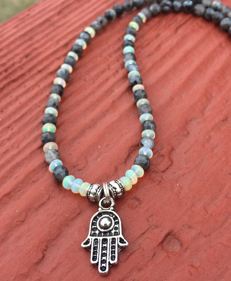 loose choker necklace Opal and larvikite beaded hamsa necklace