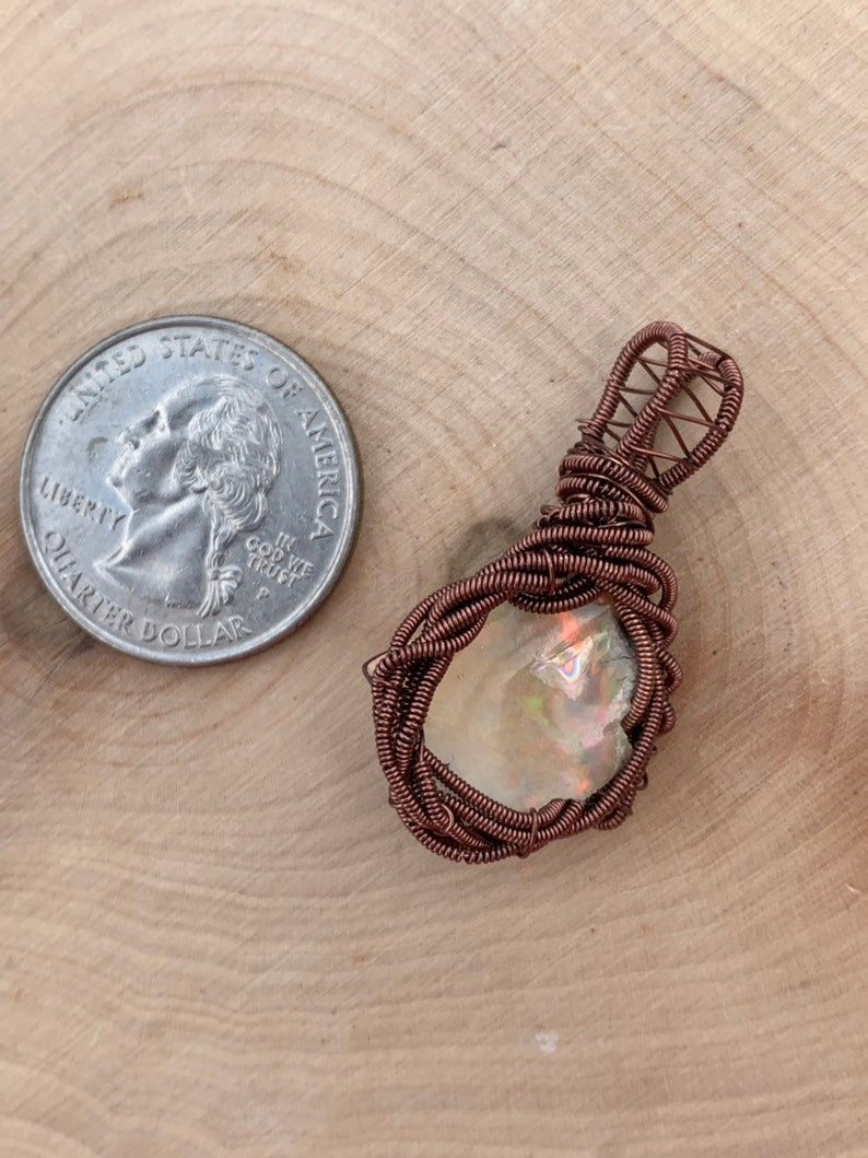 raw opal necklace raw Ethiopian opal pendant raw opal wire wrap Ethiopian welo opal wire wrapped pendant Ethiopian opal wire wrap