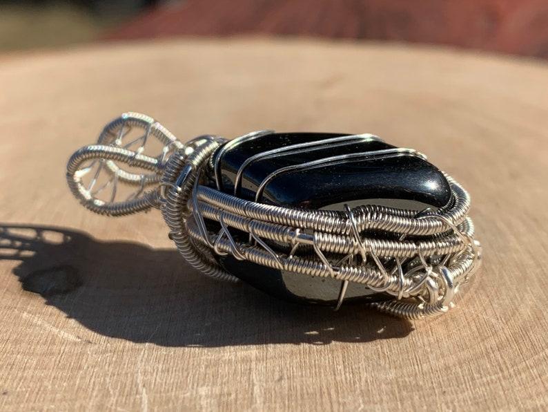 hematite necklace hematite wire wrap mens hematite hematite pendant mens wire wrap wire wrapped hematite Hematite wire wrapped pendant