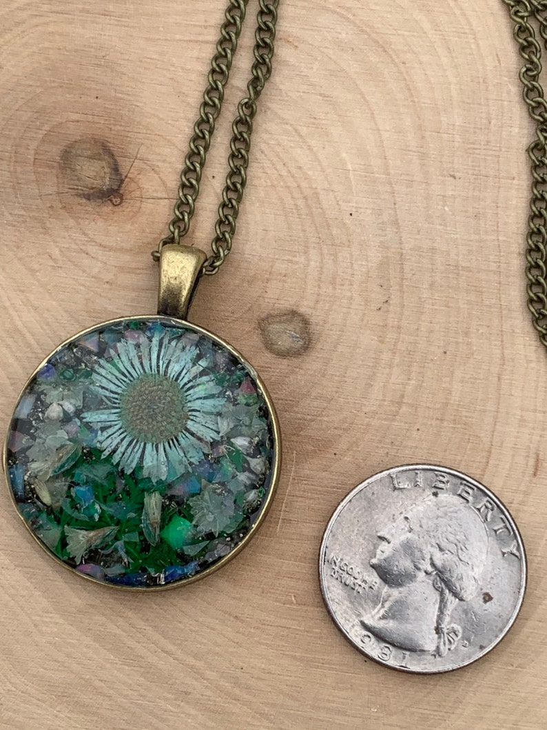 real flower necklace Wildflowers blue flower necklace pyrite raw opal pressed flower flower resin pendant /& opal resin pendant