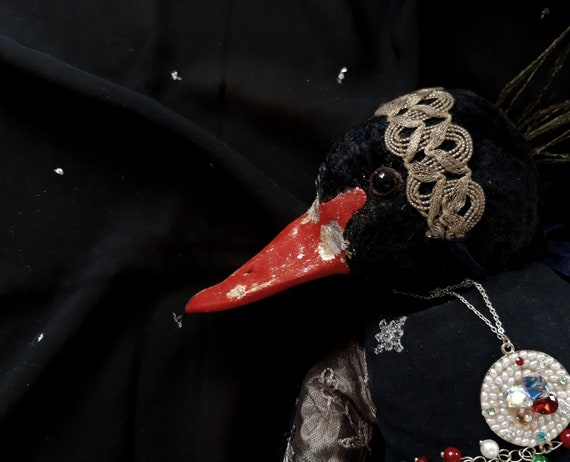 Boudoir Artist Fantasy Doll Black Swan Interior Decor Doll In Vintage Great Gatsby Style