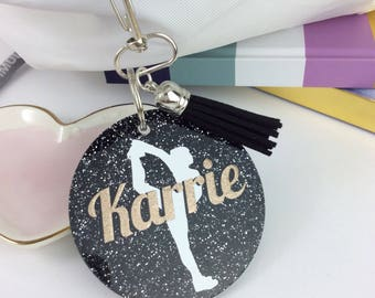 Cheerleader Hitch glitter bag tag, Personalized bag tag, cheer team gift, gifts for, cheerleaders, monogrammed