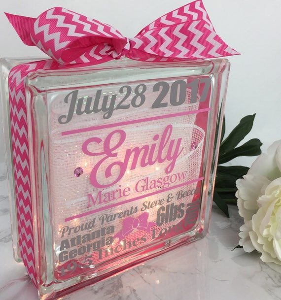 Birth Announcement Gemlight Baby Girl Baby Shower Gifts New Etsy