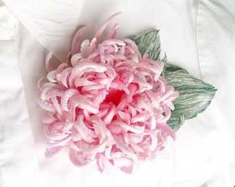 Pink flower corsage etsy silk chrysanthemum brooch large pink flower flower brooch corsage flower pin gift for her pale pink hair clip mother of bride flower gift mightylinksfo