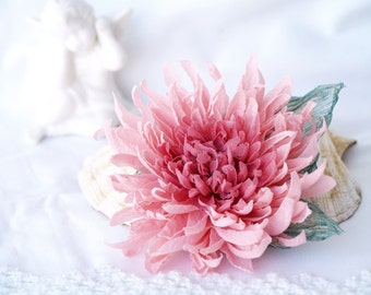 Pink flower corsage etsy pink flower brooch floral broach silk chrysanthemum corsage flower pin gift for her pastel pink hair piece mother of bride gift for mother mightylinksfo