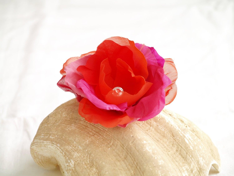 Flower Brooch Magenta Orange Flower Hair Clip Hot Pink Silk Etsy