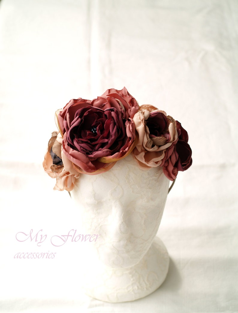 d635d8f87bcc Ombre pink Flower crown Burgundy red Frida headband Floral | Etsy