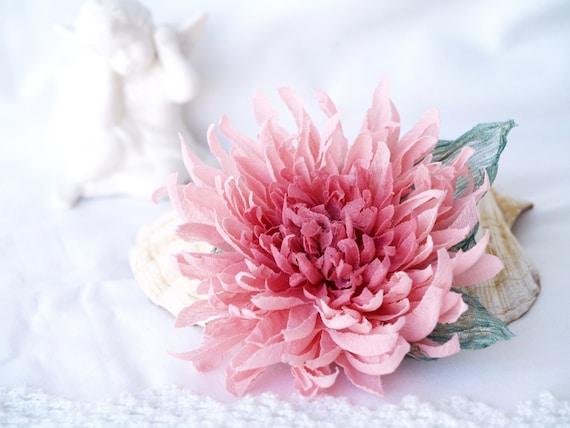 Pink flower brooch floral broach silk chrysanthemum corsage etsy image 0 mightylinksfo