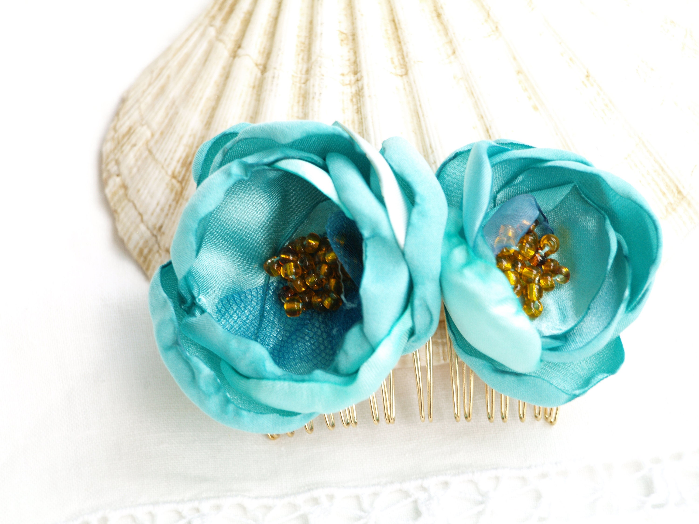 Blue flower hair comb tiffany flower blue bridal headpiece etsy zoom izmirmasajfo