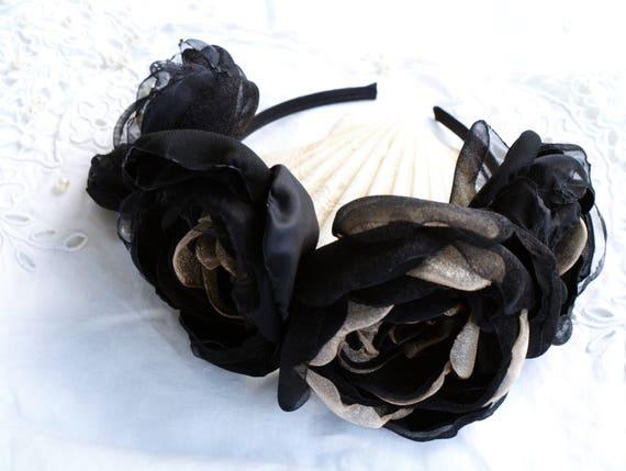 Black roses headband Black flower crown Black and gold head  4e7f152c839