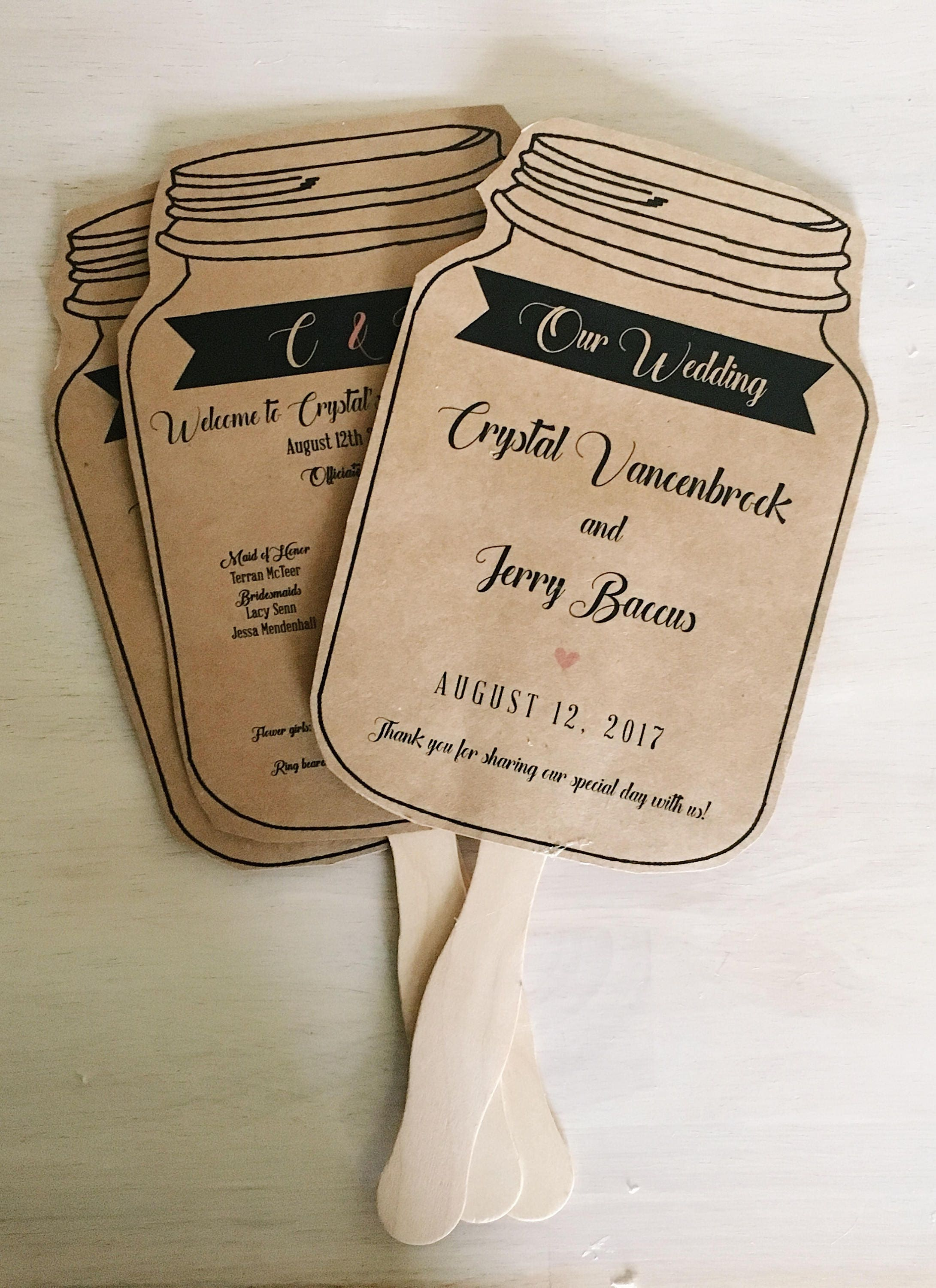 kraft wedding programs wedding programs fans mason jar wedding