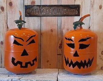 Jack-o-Lantern {Upcycled Propane Tank } metal pumpkin yard art, pumpkin yard decor metal art spooky decor