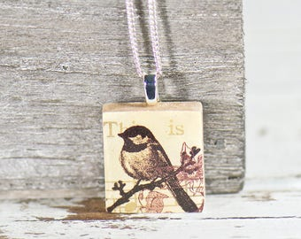 Nature Lover Bird Scrabble Tile Necklace, Boutique, Small Necklace, Gifts for Her, Boho Jewelry, Unique Gifts, Upcycled Jewelry, Charm Gifts