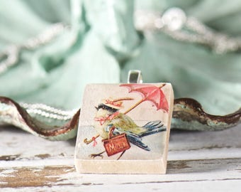 Fantasy Fairytale Bird Scrabble Tile Necklace, Whimsical Gift for Her, Nursery Rhyme, Upcycled Jewelry, Scrabble Tile Pendant, Unique Gifts
