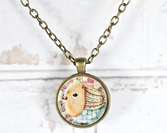 Boho Bird Pendant. Necklace for Women. Art Pendant. Bohemian Jewelry. Gift for Her. Bird Watcher. Whimsical Bird. Christmas in July Fun Gift