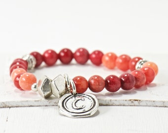 Wax Seal Initial Jewelry, Letter Bracelet, Red Aventurine, Personalized Jewelry, Silver Gemstone, Alphabet Gifts for Her, Women's Mom Gift