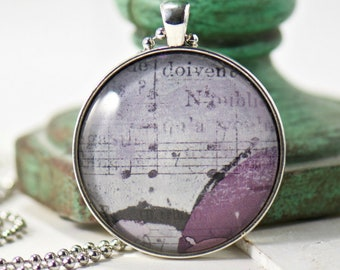 Purple Music Bohemian Jewelry, Pendant Gift for Her, Gypsy, Long Necklace Women's Gift, Sister Best Friend, Music Teacher Gift, Wanderlust