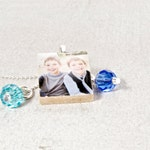 Photo Charm Necklace, TWO Swarovski Birthstones, Personalized Photo Jewelry, Gifts for Her, Customized Jewelry, Made in USA