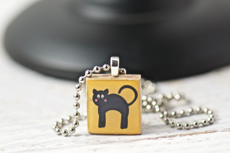 Black Cat Halloween Scrabble Tile Necklace, Gift Ideas, Unique Resin  Jewelry, Pendant Necklace, Gift for Her, Mom, Sister, Girl, Cartoon Cat