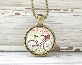 Baskets and Bicycles Pendant. Unique Necklace. Boho Style. Christmas Gift. Gifts for Her. Gifts Under 20. Bohemian Chic. Everyday Necklace