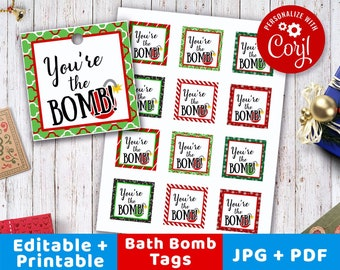 bath bomb christmas tags printable youre the bomb tags editable bath bomb tags square tags editable avery template instant download