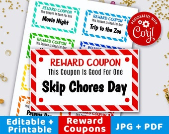 Kids Reward Tickets Printable Editable Coupons Childrens Good Behavior Ticket Love Book Gift For