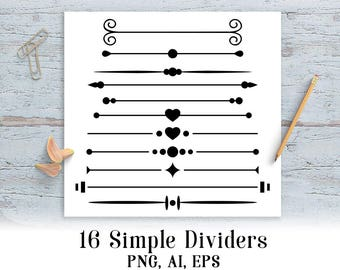 16 Simple Page Dividers Clipart Border Frame Text Divider Wedding Line