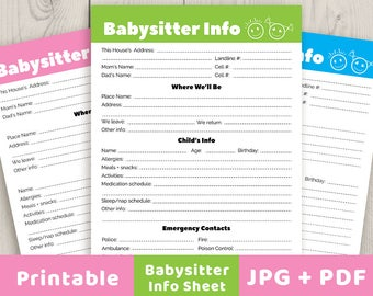 babysitter notes printable babysitter info sheet babysitter printable babysitter checklist family planner nanny printable contacts