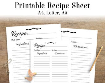 recipe sheet printable recipe page template blank recipe page recipe book printable recipe template recipe inserts a4 letter a5 pdf