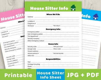 pet sitter info sheet printable pet info sheet pet sitter etsy