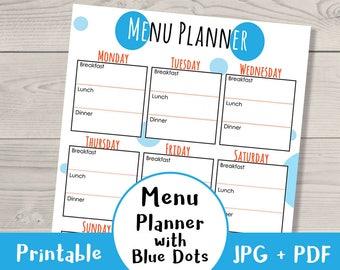 weekly meal planner printable watercolor banners menu etsy