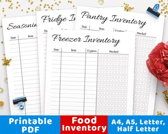 Food Inventory PrintablesPantry Freezer Fridge Tracker Printable Insert