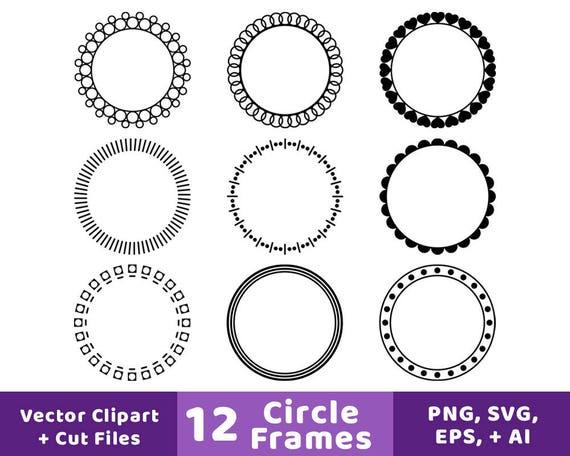 12 Circle Frames Clipart Monogram Frame SVG Round Frame | Etsy