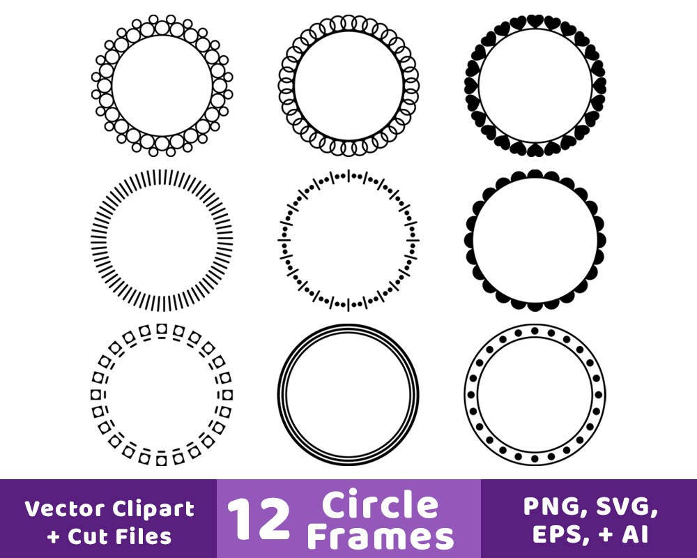 12 Kreis Rahmen Clipart Monogramm Rahmen SVG runden Rahmen | Etsy