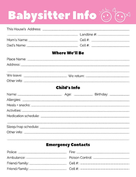 picture regarding Babysitter Info Sheet Printable named Babysitter Notes Printable, Babysitter Information Sheet, Babysitter Printable, Babysitter Listing, Loved ones Planner, Nanny Printable, Contacts