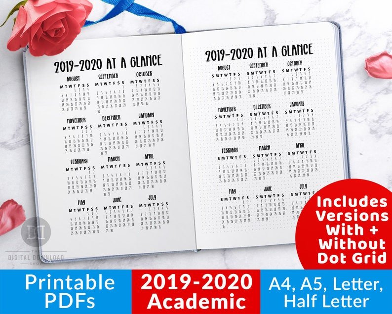 Kawaii Calendar 2020 September October And December 2019 2020 Academic Year at a Glance Printable 2019 Academic | Etsy