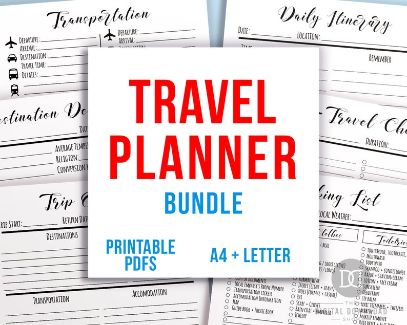 Travel Planner Printable, Vacation Planner, Trip Planner, Vacation  Organizer, Holiday Planner, Travel Itinerary, Vacation Packing List PDF