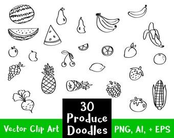 30 Fruit + Veggies Doodle Clipart, Hand Drawn Clipart, Fruit Clipart, Vegetable Clip Art, Food Clipart, Sketch Clipart, PNG + Vector Clipart