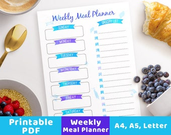 Weekly Meal Planner Printable- Watercolor Banners, Menu Planner Printable, A5 Meal Planner, Grocery List PDF, Meal Planner Sheet