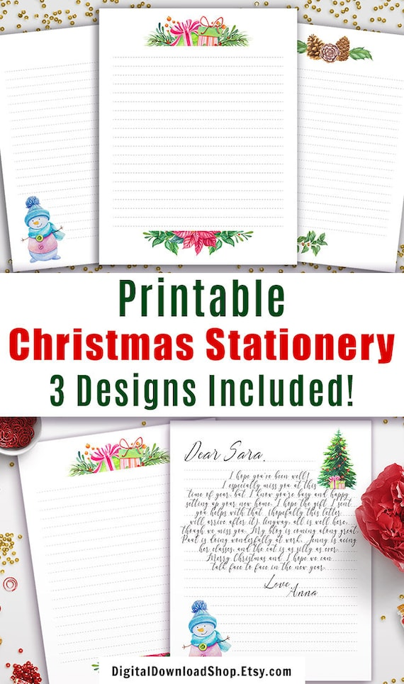 picture regarding Printable Christmas Stationary referred to as 3 Xmas Stationery Printables, Xmas Stationary Paper Electronic, Xmas Letter Thoughts Printable, Letter toward Santa Letter Printable