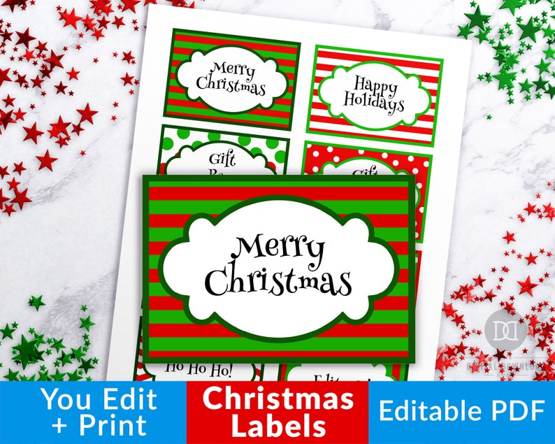graphic relating to Christmas Labels Printable named Xmas Labels Printable, Editable Xmas Tags, Customizable Xmas Reward Labels, Xmas Food items Labels Template Instantaneous Obtain