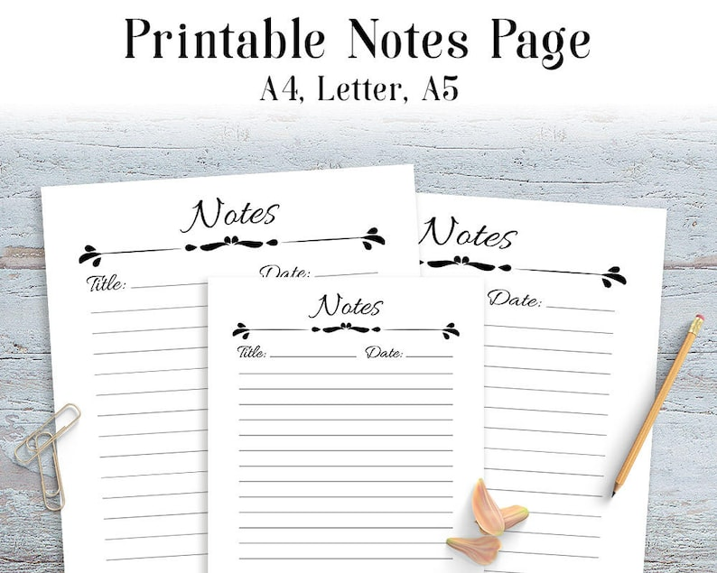 graphic relating to Printable Notes Page named Notes Webpage Printable, Planner Notes Website page, A4 Laptop Refills, A5 Laptop computer refills, Covered Laptop Paper, Notepad, Printable Planner Inserts