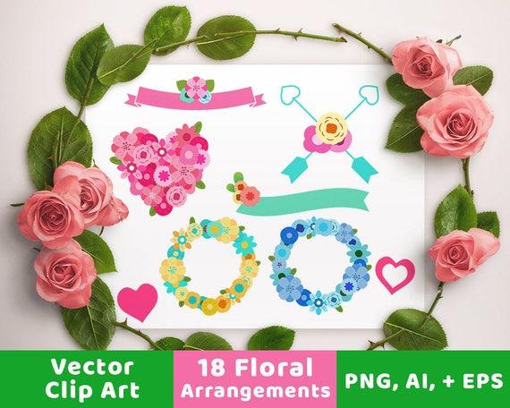 Vektor Blumenarrangements Vektor Blumen Blumen Hochzeit Etsy
