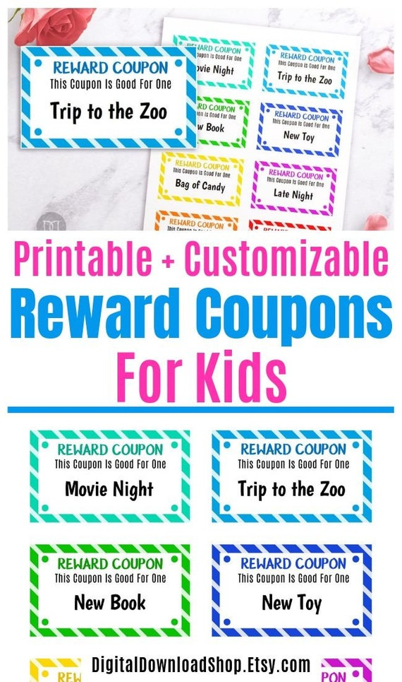 photograph regarding Printable Reward Tickets titled Small children Profit Tickets Printable, Editable Small children Gain Discount coupons, Childrens Fantastic Habits Ticket, Enjoy Discount codes E book, Present Coupon codes for Small children