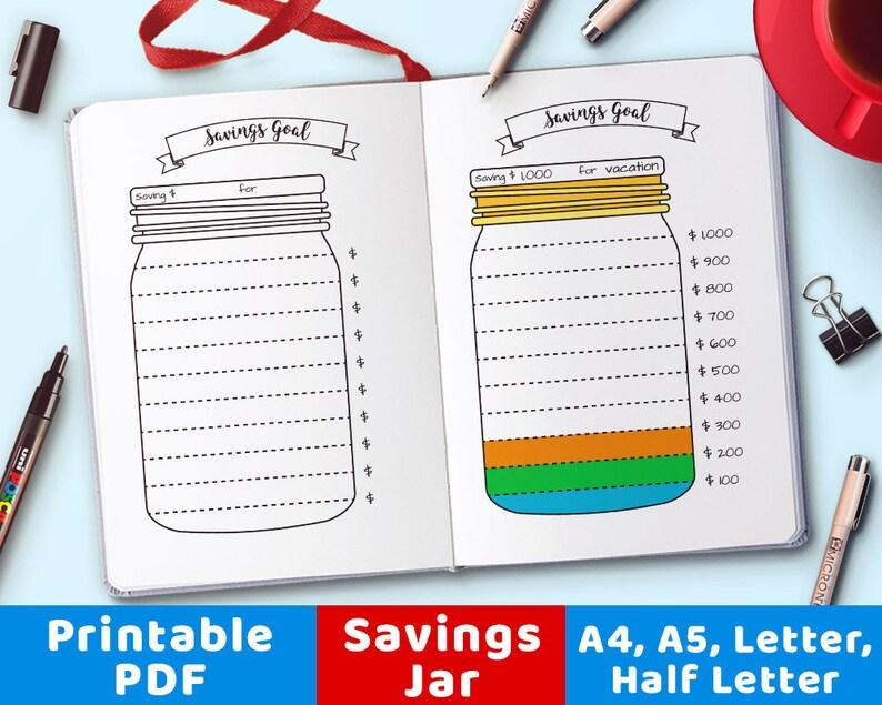 photograph regarding Savings Jar Printable referred to as Bullet Magazine Financial savings Jar Printable, Mason Jar Price savings Tracker, Monetary Planner, Personal savings Chart, Bujo Inserts, Planner Inserts, PDFs