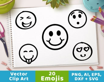 20 Emojis, Emoji Clipart, Emoji Graphics, Smiley Face Clipart, Emoticon Clipart, Emoji SVG, Smiley Face SVG, Mood Emojis, Smiley Face DXF