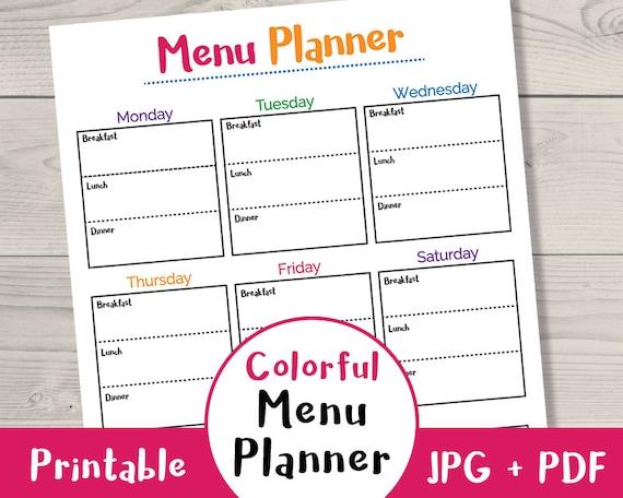 Colorful Meal Planner Printable Printable Menu Planner